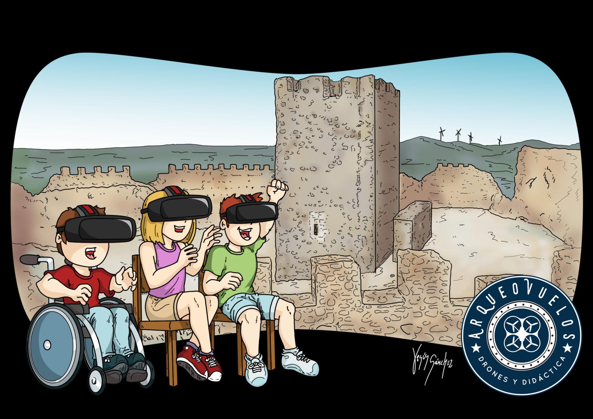 Niños en el Castillo de Almonacid con Arqueovuelos