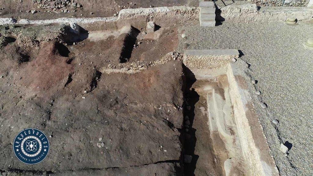 Zona en proceso de excavación: viviendas emirales y natatio romana